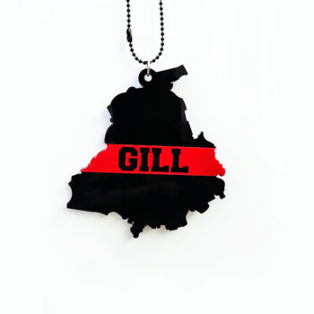 Seepa 'Gill on Punjab State Shape' Car Hanging with Double Sided 3D Effect Print for Rear View Mirror Ornament Interior/Exterior Decor Accessories and Wall Hanging Showpiece