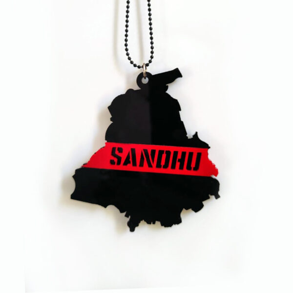 Seepa Acrylic Car Hangings with chain(size 3.3x3.9in).This car hanging pendant is designed with double side printed / both side facing Sandhu on Punjab State shape. This indoor/ outdoor hanging decor is an ideal gift for all occasions like religious festivals, thanks giving, house warming & birthday parties and this showpiece easily attracts people's attention. This car charm comes with a chain which can be easily hung on the rear view car mirror. Product colour may slightly vary due to photographic lighting sources or your monitor settings.